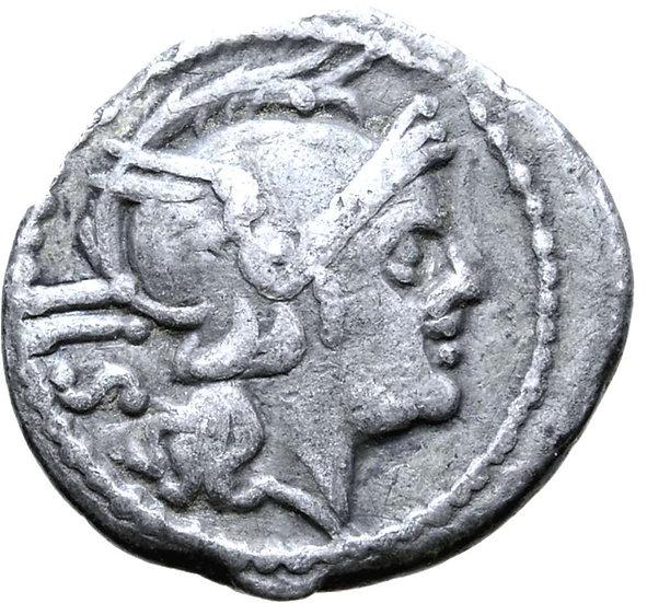 Moeda da República Romana Raro Sestércio de prata anônimo (211-208 aC)