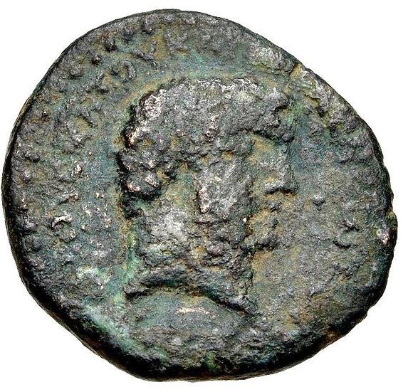 Moeda Grega Egípcia Raríssima de Marco Antônio e Cleópatra 32-31 aC
