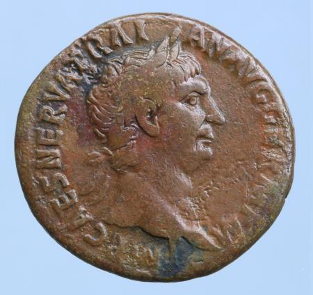 Moeda Romana Trajan (98-117), As, Rome, AD 99-100;