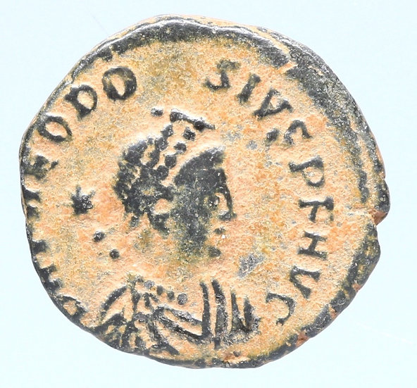 Moeda Romana Rara de Theodosius II com Honório no reverso (408-415 dC)