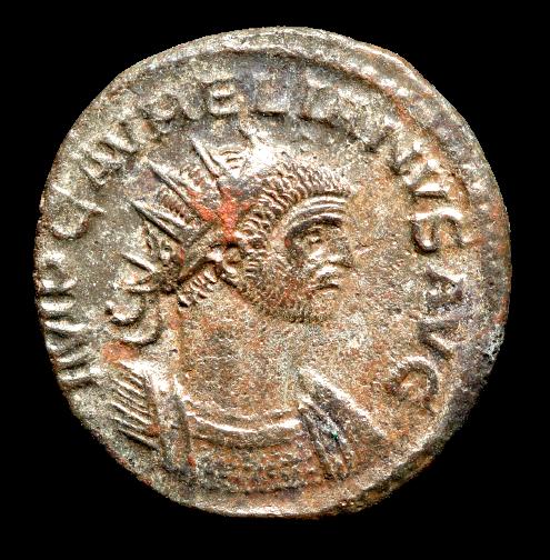 Moeda Romana Antoniniano de Aurelian (270-275 dC).
