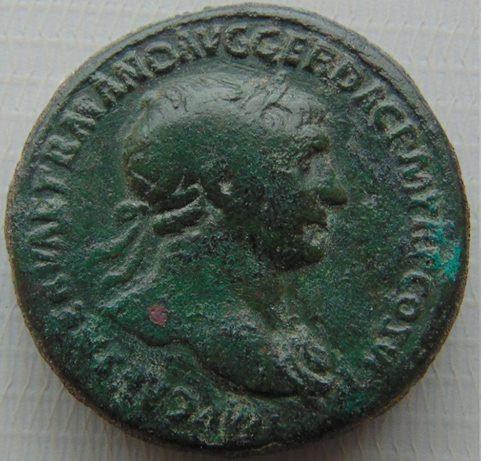 Moeda Romana Sestércio de Trajano Trajanus (98-117)