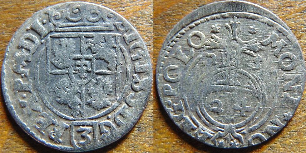Moeda Antiga Prata Sigismund Polônia sec. XVII Polônia Zygmun