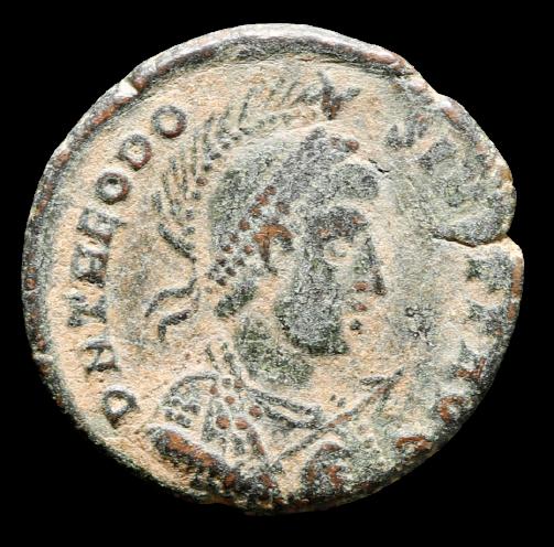 Moeda Romana Escassa de Theodosius I (379-395 dC).