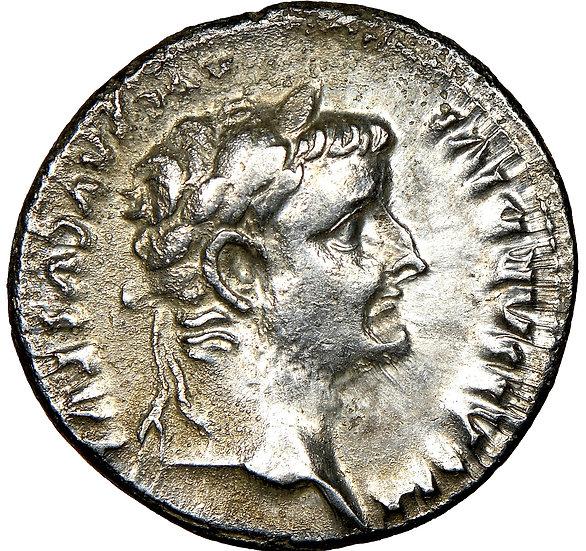 Moeda Romana de Tibério Tribute Penny 14-37 dC