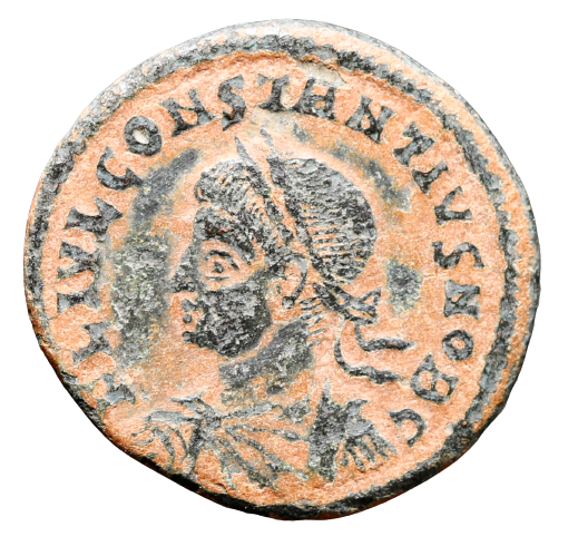 Moeda Rara de Constantius como César, Æ Nummus. Treveri, (310-313).