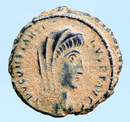 Moeda Romana Divus Constantine I died 337 Alexandria 347-348.