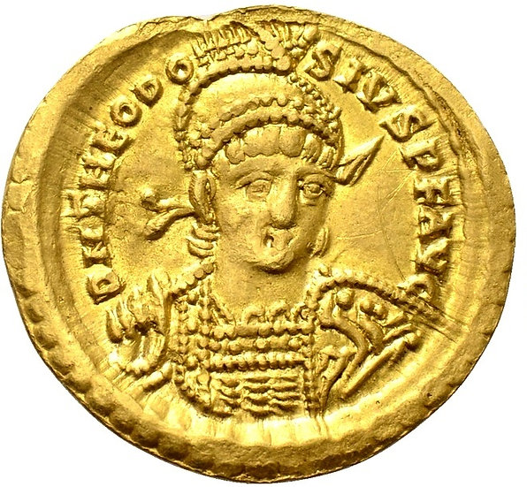 Moeda Romana Teodósio II (402-450). OURO Solidus. Constantinopla