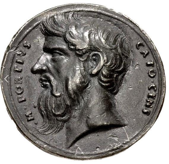 Medalha com Cato - O Velho (214-149 aC) fundida por volta de 1520-1530 dC