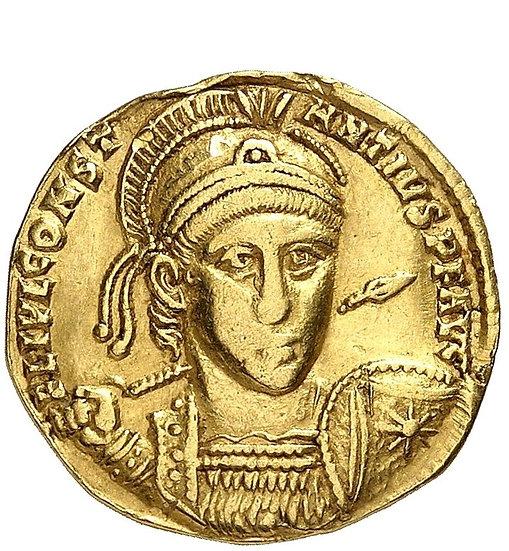 Moeda Romana Solidus de Constantius II 337-361 dC AV-Solidus, 355/357