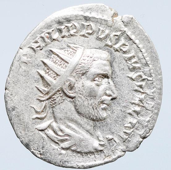 Moeda Romana antoniniano de Felipe I - O Árabe (244-249 dC)