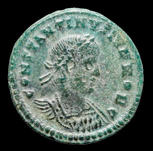 Moeda Romana de Constantino II, como César (316-337 dC).