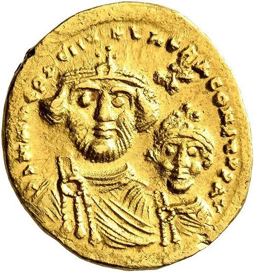 Moeda Bizantina de Heráclio, com Heráclio Constantino, 610-641 dC
