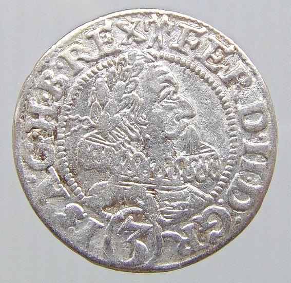 Moeda austríaca 3 Kreuzer 1628 HR, Breslau - Ferdinand II