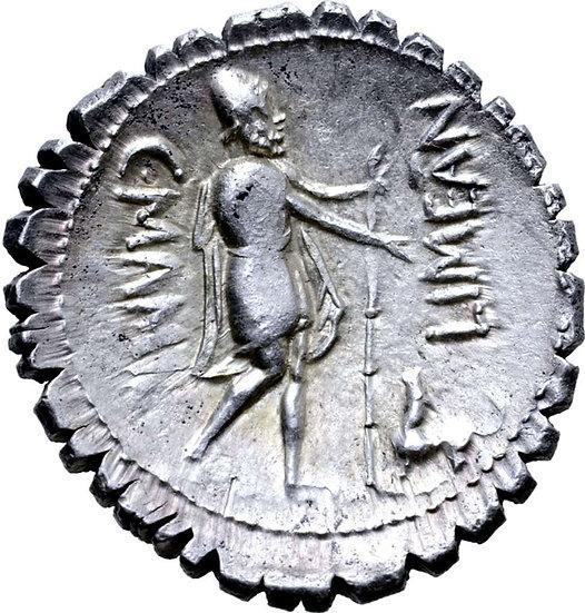 Moeda Romana Escassa de C. Mamilius Limetanus AR Serrate Denarius. Roma, 82 aC