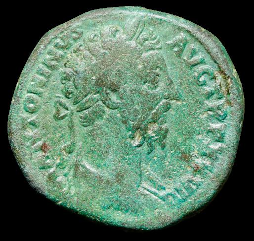 Moeda Romana Sestércio Oricalco de Marcus Aurelius (161-180 dC).
