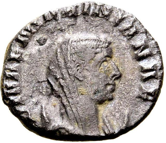 Moeda Romana Rara de Diva Mariniana (esposa de Valerian I)