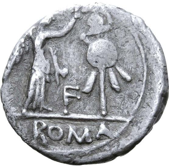 Moeda Romana Rara Quinarius Anônimo (81 aC).