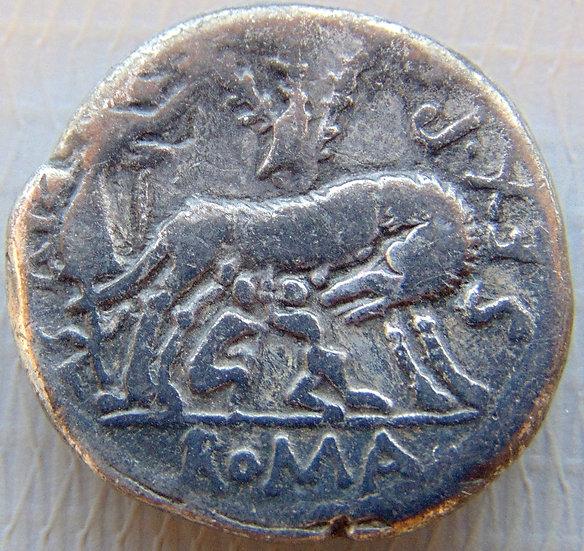 Moeda Romana Rara Sextus Pompeius Fostlus 137 aC