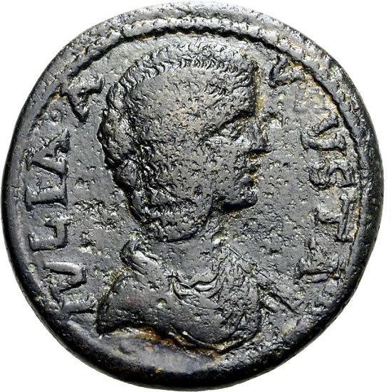 Moeda Romana Provincial de Julia Domna AE34 da Antióquia Psídia 193-217 dC