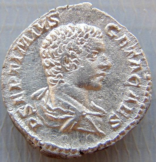 Moeda Romana Geta como César,  198-209 dC