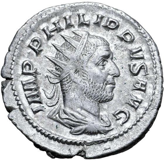 Moeda escassa Antoniniano comemorativo de 1000 anos de Roma de Philip I, Roma, 2