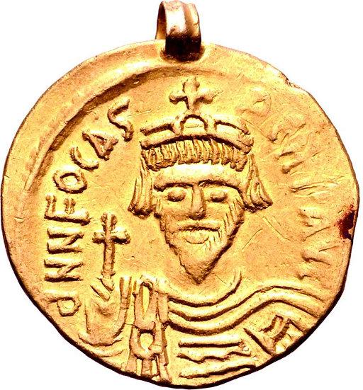 Moeda Bizantina de Focas AV Solidus. Constantinopla, 602-610 dC.