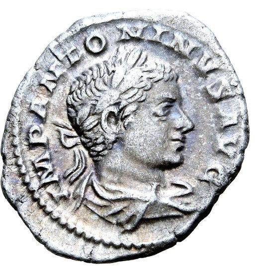 Moeda Romana Denário de Elagabalus, Roma, 219 dC