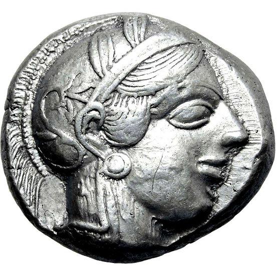 Moeda Grega Tetradracma da Attica Atenas - 440-404 aC