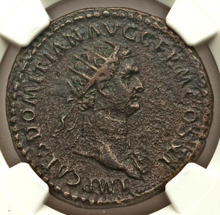 Domitian, as Augustus (AD 81-96). AE dupondius (28mm, 13.58 gm, 6h). NGC XF 5/5