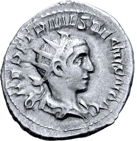 Moeda Romana Escassa de Herennius Etruscus, como César, 250-251 dC