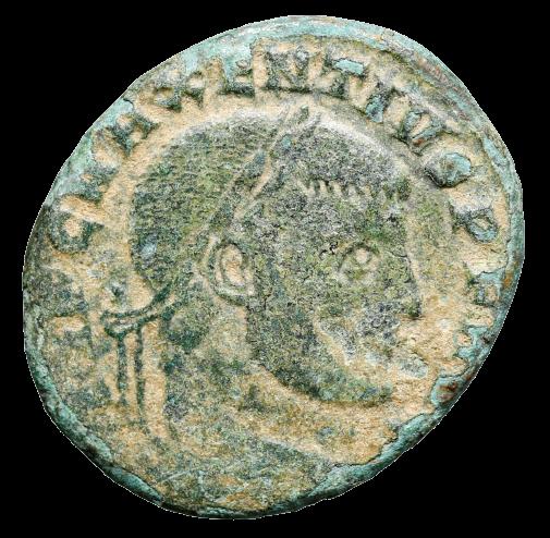 Moeda Romana Escassa de Maxentius com os irmãos Dioscuri, Cástor e Pollux, 306 -