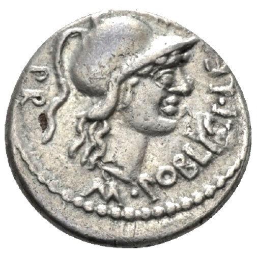 Moeda Romana Rara Denário Fourrée (falso de época) de Pompeius Magnus