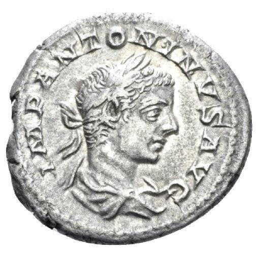Moeda Romana Escassa de Elagabalus (218-222 dC).