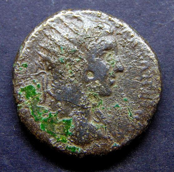Moeda de Elagábalus com Nêmesis reverso - Deusa da justiça
