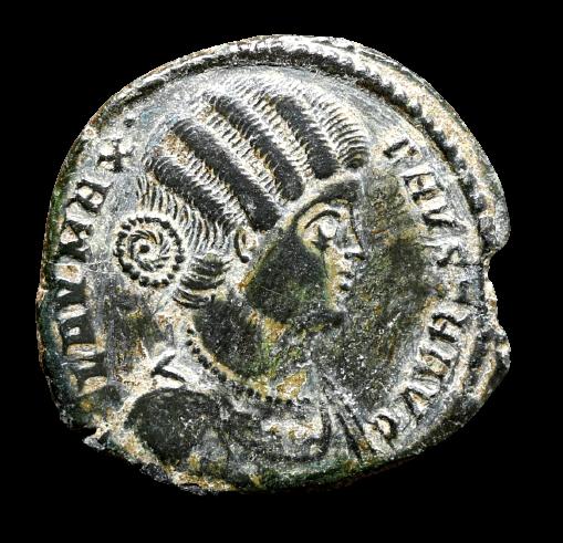 Moeda Romana de Fausta (filha de Maximiano e esposa de Constantino I) (324-326 d