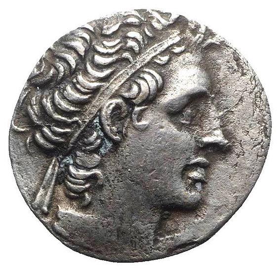 Moeda Ptolemaica Tetradracma Egípcio de Cleopatra VII e Ptolomeu XII (5