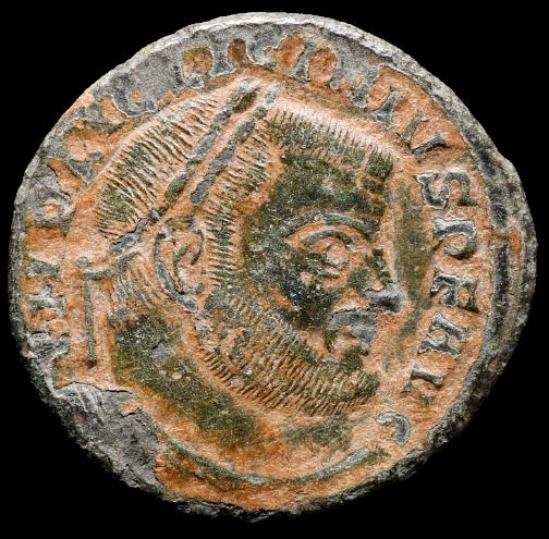 Moeda Romana Follis de Licinius I (308-324 dC).