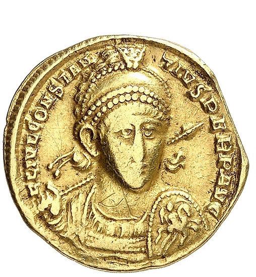 Moeda Romana Solidus de Constantius II 337-361 dC AV-Solidus, 355/361, Antioquia