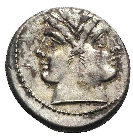 Moeda República Roma Escassa Quadrigatus (225-212 aC)