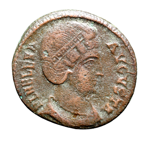 Moeda Romana Escassa de Fausta (324-326 dC) AE follis - Esposa de Constantino!