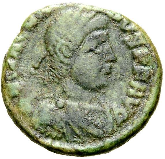 Moeda RARA de Magnus Maximus, Lugdunum, 383-388 dC.