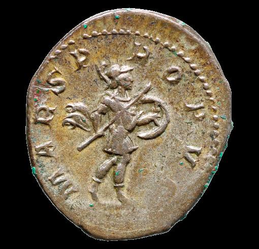 Moeda Romana Antoniniano com Deus Marte de Gordian III (238-244 dC).