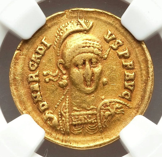 Moeda Romana Solidus de Arcadius (383-408 dC)