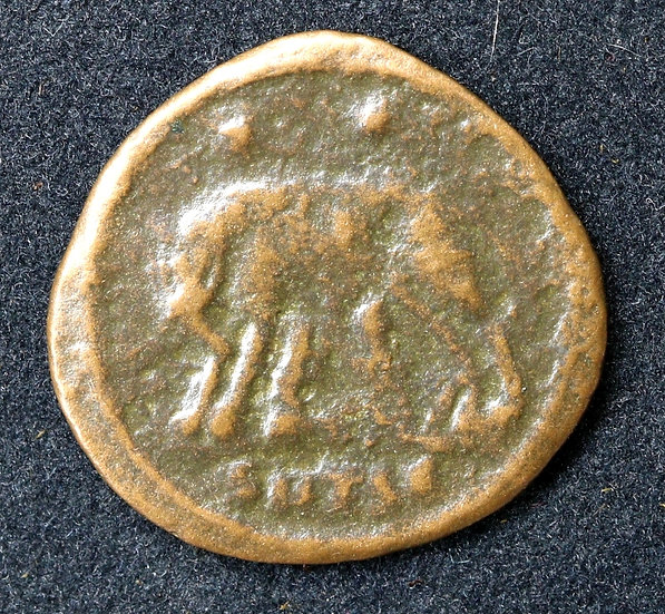 Moeda Romana Comemorativa Urbs Roma - Roma, 330 dC,