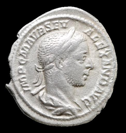 Moeda Romana Denário de Severus Alexander (222-235 dC). Cunhado em Roma no ano d