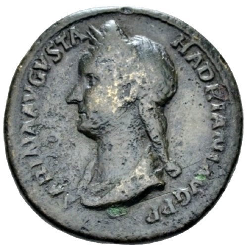 Moeda Romana Escassa Asse de Sabina, esposa de Adriano (128-134 dC)