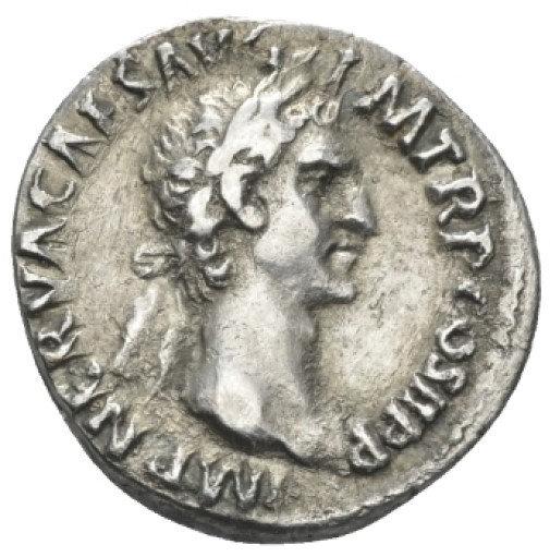 Moeda Romana Escassa Denário de Nerva (96-98 dC).
