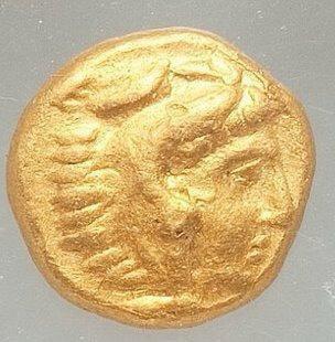 Moeda grega rara 1/8 stater de Filipe II (359-336 aC).