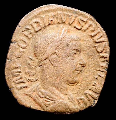 Moeda Romana Sestertius de Gordian III (238-244 dC).